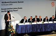 East meets West: Hungarian Minister J�nos K�ka addresses the audience